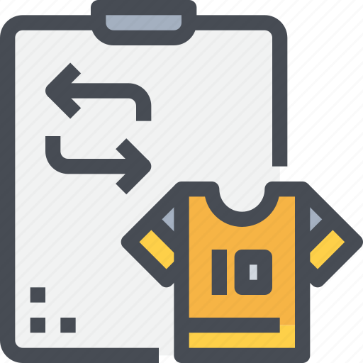football, planning, player, shirt, soccer, sport, substitution icon