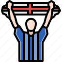 audience, avatar, cheers, flag, man, support, team icon