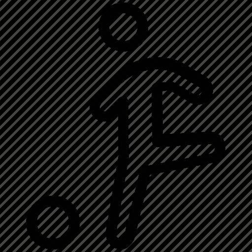 athlete, game, kick, play ground, playing, sportsman icon