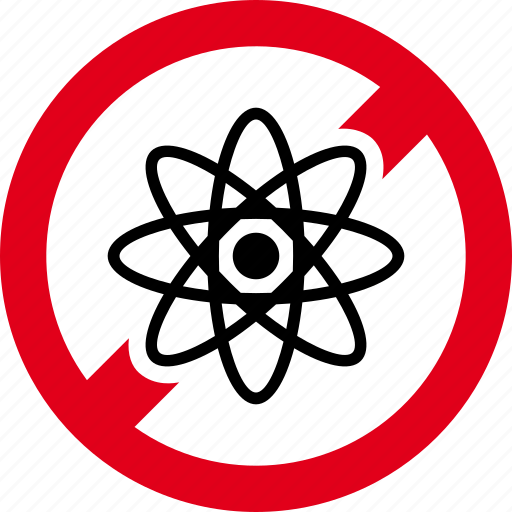 atom, atomic, forbidden, molecule, nuclear, prohibited, science icon