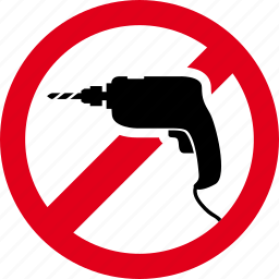 broach, drill, forbidden, perforate, prohibited, punch icon