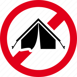 camping, forbidden, prohibited, shelter, tent icon