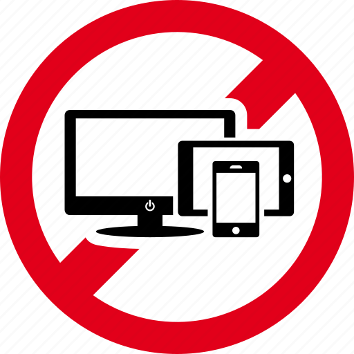 devices, electronic, forbidden, prohibited, smartphone icon
