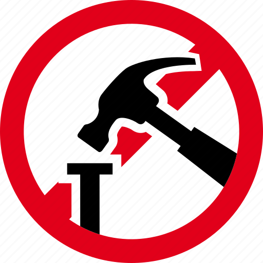 forbidden, hammer, mart, nail, prohibited, tool icon
