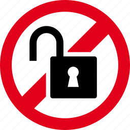 forbidden, lock, open, prohibited, unlock icon