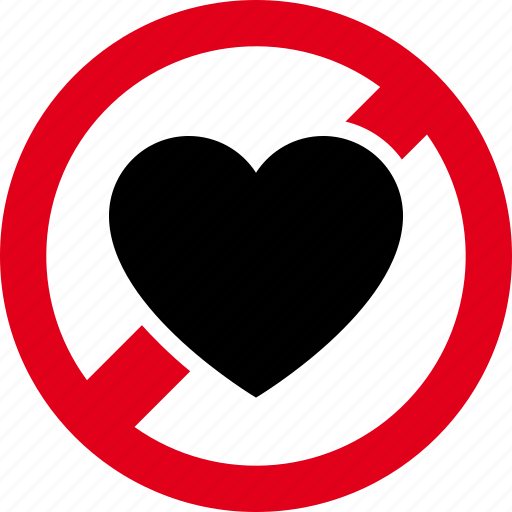 forbidden, heart, love, prohibited icon