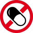 dragee, drug, forbidden, medicament, medicine, pill, prohibited icon