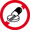 drugs, forbidden, lozenge, medicines, pill, prohibited, tablet icon