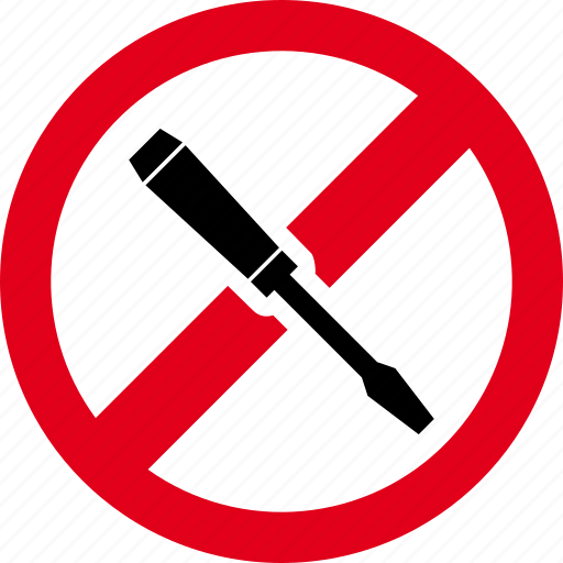 forbidden, prohibited, repair, screwdriver, slotted icon