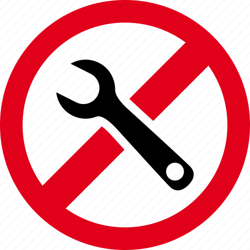 forbidden, maintenance, prohibited, repair, wrench icon