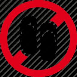 footwear, forbidden, prohibited, sandals icon