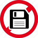 blocked, diskette, forbidden, guardar, prohibited, save icon
