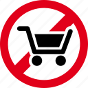cart, forbidden, prohibited, shopping icon