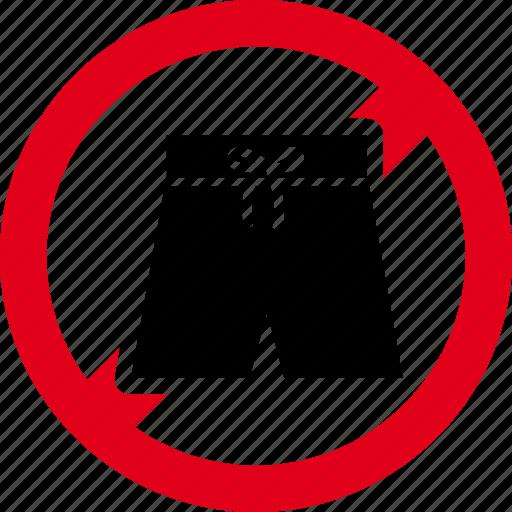 bermuda, forbidden, prohibited, shorts, swimwear icon