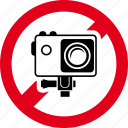 action, cam, camera, forbidden, prohibited, sportcam icon