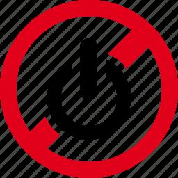 forbidden, on, prohibited, start, turn icon