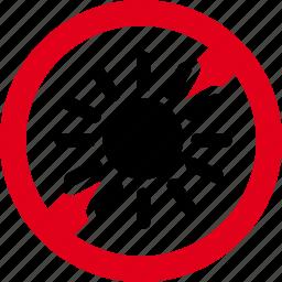 forbidden, heat, light, prohibited, sun icon