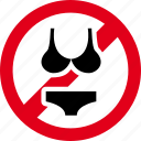 bikini, forbidden, prohibited, swimsuit, swimwear icon
