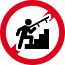 forbidden, prohibited, stairs, up, use icon