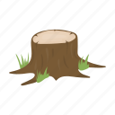 forest, root, sawed, stump, tree icon