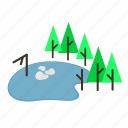 fall, forestry, forrest, lake, pine, pond, trees icon