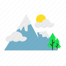 cloudy, forestry, forrest, mountain, nature, summer, trees icon