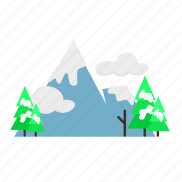 forestry, forrest, mountain, nature, pine, tree, winter icon