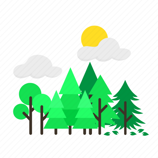forestry, forrest, heterogen, mixed, pine, sun, trees icon
