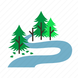 forestry, forrest, oxbow, pine, river, trees icon