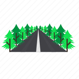 forestry, forrest, high, pine, road, trees icon