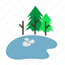 forestry, forrest, lake, pine, pond, trees, winter icon