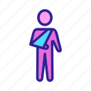 fracture, contour, element, injury, arm icon