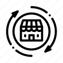 wideworld, round, arrows, shop, trade, building, mark icon