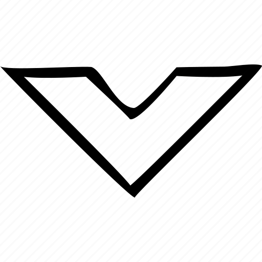 arrow, baseline, bottom, chevron, down icon
