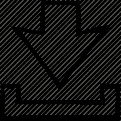 arrow, down, download, import, save, storage icon