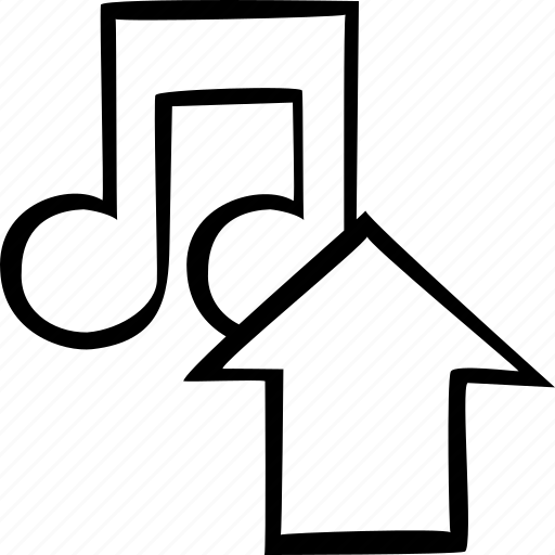 arrow, export, load, music, sound, storage, upload icon