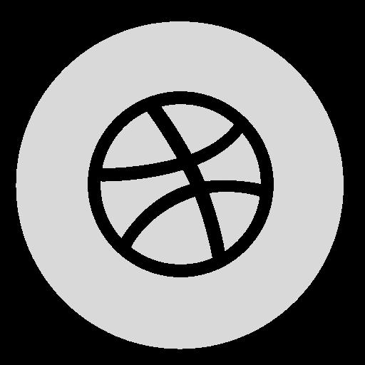 circle, dribbble, gray icon