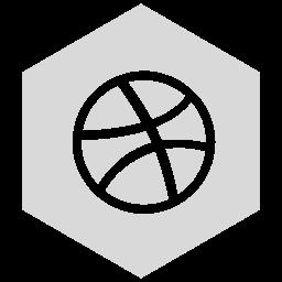 dribbble, gray, six icon