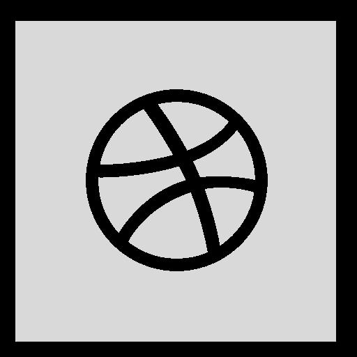 dribbble, gray, square icon