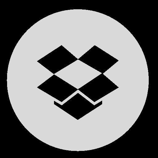 circle, dropbox, gray icon