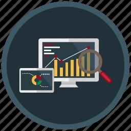 analysis, development, diagram, research, search, seo, web icon
