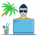 freelancer, independence, mobility, mojito, palm, rest, sea icon