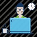 deadline, development, freelancer, hot, laptop, stress, tension, time icon
