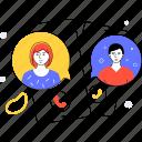 smartphone, talking, couple, communication