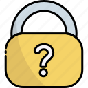 padlock, lock, security, protection, question, help