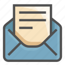 email, envelope, letter, mail, message, open, read icon