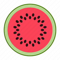 eating, fresh fruit, fruit, melon, red, red melon, water melon icon