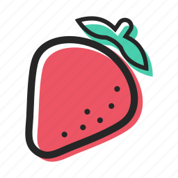 food, fruit, healthy, juice, strawberry, sweet, yogurt icon
