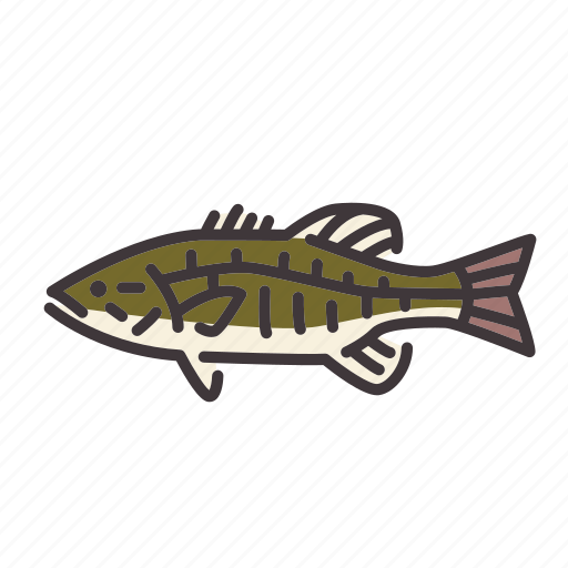 bass, fish, fishing, freshwater gamefish, smallmouth bass, sunfish icon