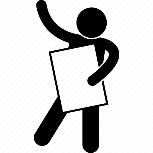 banner, empty, gesture, holding, man, person, pose icon